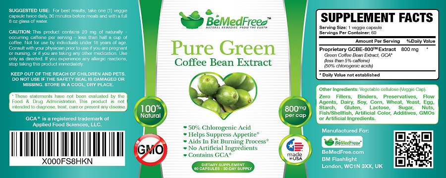 Click to enlarge image of Pure Green Coffee Bean Extract Label